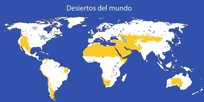 Mapa de los desiertos en el mundo